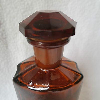 alte Apothekerflasche mit Schliff-Stopfen Argent. nitric. emailliert achteckig 5