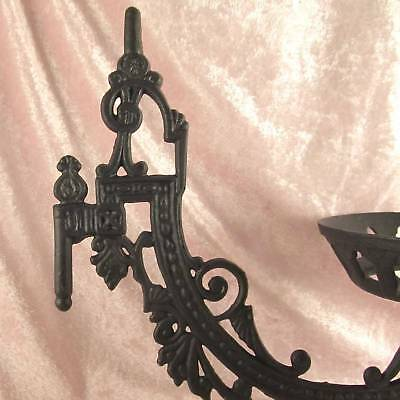 "Victorian style iron WALL BRACKET 11"" for old antique oil or kerosene lamp font 3"