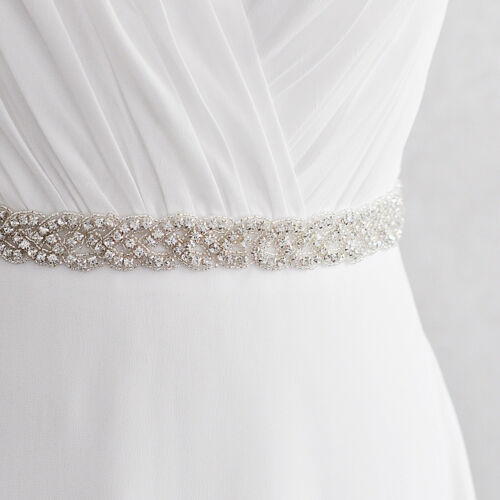 Bridal Sash Belt Waistband Ribbon Full Rhinestone Crystal Wedding Dress Belt