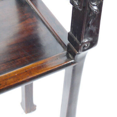 Chinese Hardwood Incense Table Marble Inset Qing Dynasty 19th C 5
