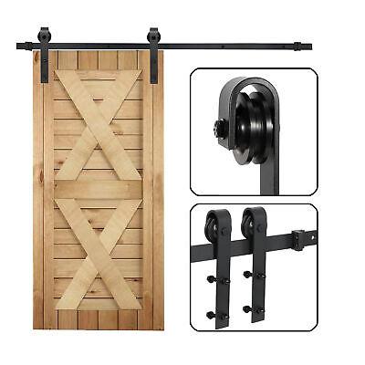 Sliding Barn Door Hardware Kit 6.6FT Modern Closet Hang Style Track Rail Black 2