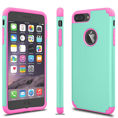 For iPhone 6S 7/8 Plus + Phone Case Luxury Shockproof Rugged Rubber Hard Cover 7