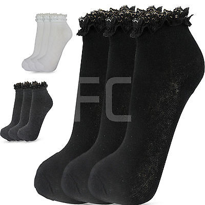 New Womens Girls 3 Multi Pack Lace Top Frilly  Ankle Trainer Socks School Size 2