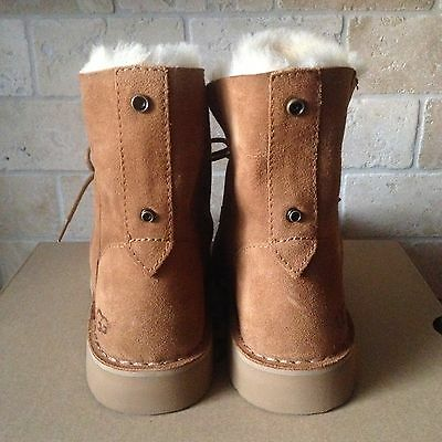 65b59e384c3 UGG QUINCY CHESTNUT Suede Sheepskin Lace up Ankle Boots Shoes US 8.5 Womens