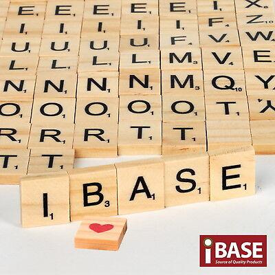 100 / 200 Wooden Alphabet Scrabble Tiles Scrapbooking Handcraft Black Letter set 4