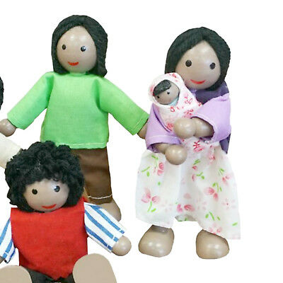 NEW Fun Factory Wooden Doll House Family of 5 Black Ethnic Posable Dolls 3
