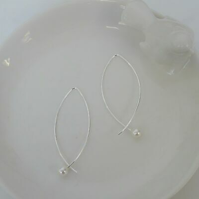 Real 925 Sterling Silver Open Heart Loop Pull Through Earrings Hearts Pull Thru