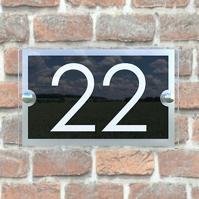 Contemporary House Sign Plaques Door Numbers 1 - 999 Personalised Name Plate 27B 11