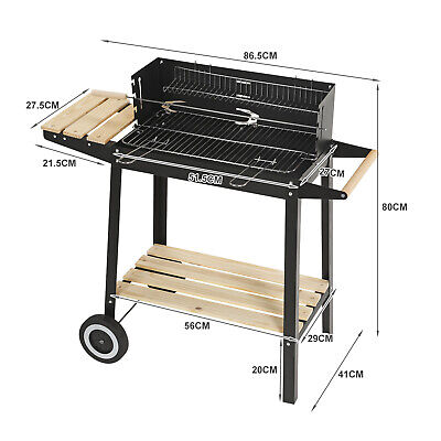 Rectangular BBQ Barbecue Steel Charcoal Grill Outdoor Patio Garden Wheels 2