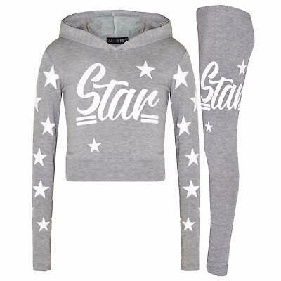 Girls Kids Star Hooded Jogging Set Lounge Suit Lightweight Tracksuit Ages 7-13 3