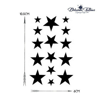 c432c4c26 ... Black Star Temporary Tattoos, Set Of 15, Finger, Ear, Neck, Mens