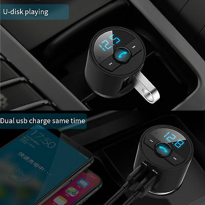 Wireless Bluetooth FM Transmitter Car Dual USB Charger MP3 Player Handsfree Call 6