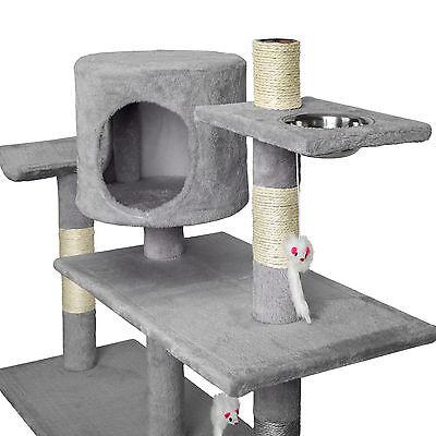 Arbre à chat xxl griffoir grattoir geant avec 2 grottes anthracite gris 3