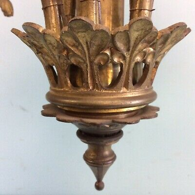 "Bronze 6-Arm Chandelier 30.5""L 6"