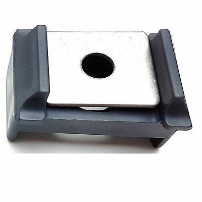Zaun Pfostenklammern grau 7042 Ovalloch mit Klemmplatte A2 10 Sets Selbstbau