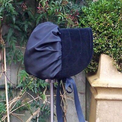 """Regency/Victorian Style Bonnet """"Jane Austen"""" Velvet Brim HANDMADE 11"""