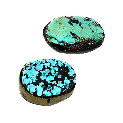 (2557) Antique Pair of Tibetan Turquoises Set in Silver and Copper 4