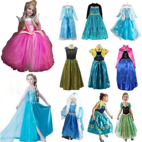 Princess Belle Cinderella Costume Party Gown Dress Frozen Girl Kid Child Dresses 4