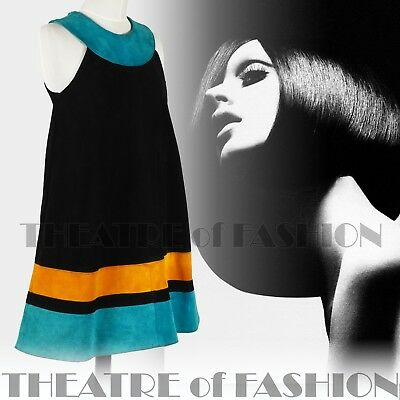 DRESS 60s SUEDE LEATHER VINTAGE OUTSTANDING ART ICONIC RARE LIKE COURRÈGES GOGO 2