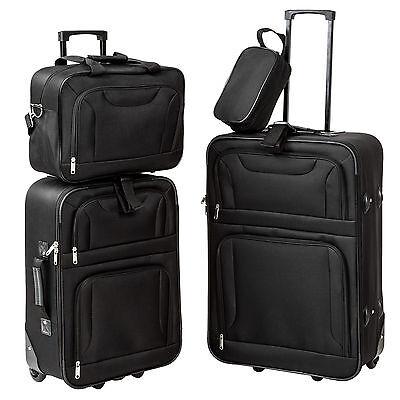Set de 4 valises de voyage textile trolley bagage avec 2 roues noir 4