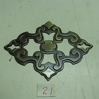 BRASS PULL HANDLES WITH BACK PLATES OLD VINTAGE used 4