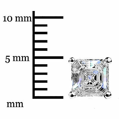 1.50Ct Asscher Cut Solitaire Stud Earrings Lab Diamond 14k White Gold Screw Back 8