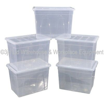 Spacemaster Clear Plastic Storage Box Boxes With Lids Removals House Home Garage 2