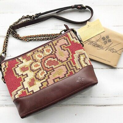 NWT Patricia Nash Crossbody Bag Shoulder Handbag Tapestry Leather burgundy brown 2