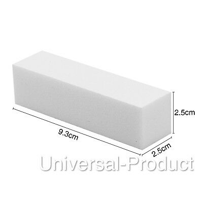 White Acrylic Nail Buffer Buffing Sanding Block Files Salon Art |UK SELLER|