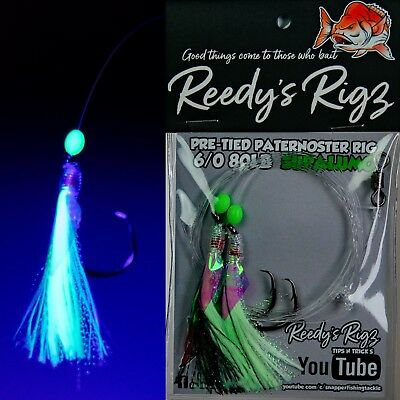 4x Snapper Rigs Pre Tied Ultra Rigs Reedy/'s Rigs Paternoster Japanse Hooks 6//0