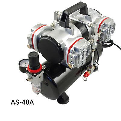 Airbrush Kompressor Airbrushpistole Komplett-Set Double-Action Pistolen Halter 6