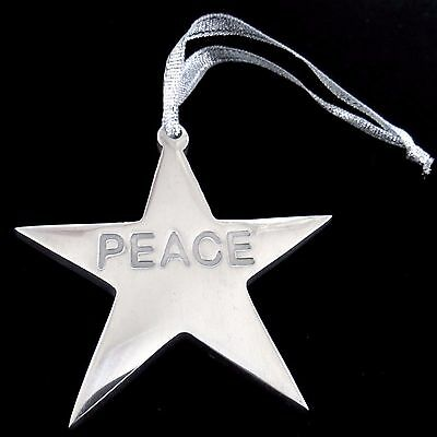 Peace Star Ornament Silver Metal Package Decor 3.25 inch 8 cm Across Police Law