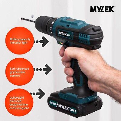 Mylek 18V Cordless Drill Driver Set Combi Lithium Ion Screwdriver LED Worklight 2