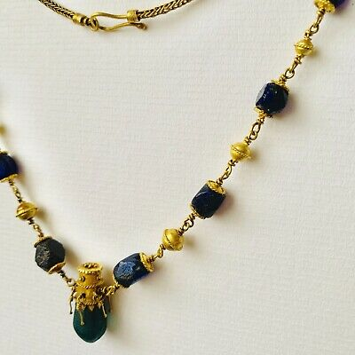 BEAUTIFUL Ancient Roman Gold Pendant Necklace With Green And Blue Glass Beads 5
