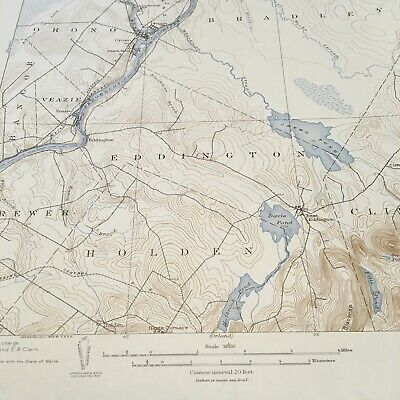 Vintage Original 1936 Maine Penobscot County Orono ME USGS Quadrangle Map 5
