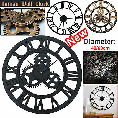 40/60Cm Extra Large Roman Numerals Skeleton Wall Clock Big Giant Open Face Round 2