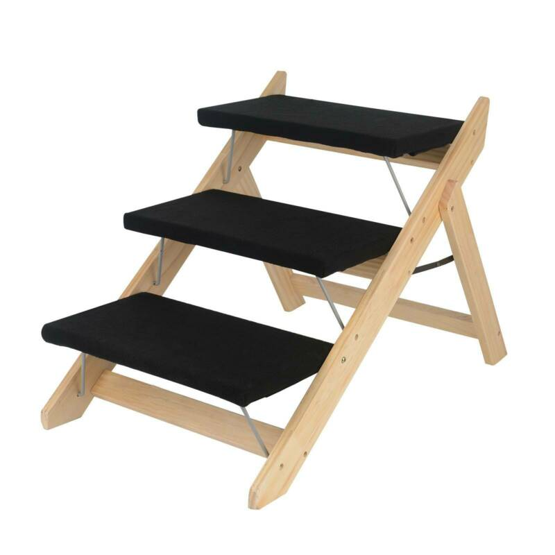 Finetree Portable Wooden 2-in-1 Pet Folding Dog Cat 3 Ramp Steps Stairs Ladder Travel