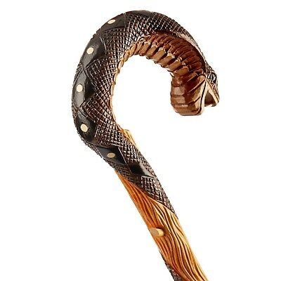Hand Carved Unique Walking Stick Cane From Oak - Quality Crook Handle Made in EU 5