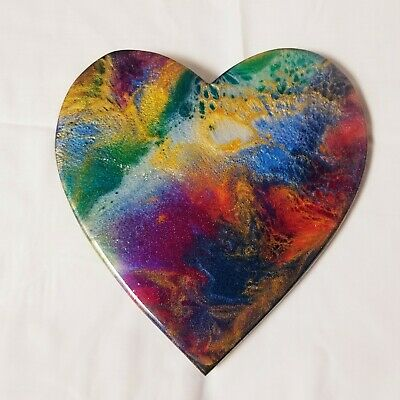 "9"" Resin Heart on Wood - Resin Art - Abstract Art - Resin Painting 6"