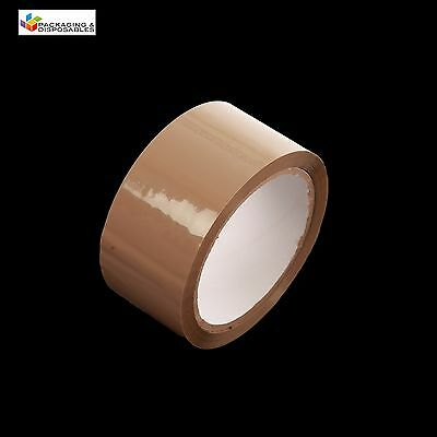 12 x ROLLS OF BROWN PACKING PARCEL PACKAGING REMOVAL TAPE 48mm x 66M SELLOTAPE
