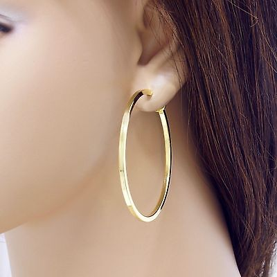 Pair Clip On Hoop Non Pierced Earrings Spring Closure Women Small New