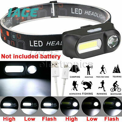 6 Modi Rechargeable Headlamp 18650 battery COB LED Scheinwerfer Taschenlampe AHS