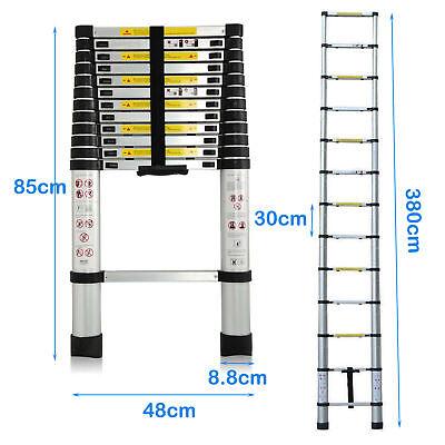 Folding 12.5FT Multi Purpose Telescopic Extension Ladder Aluminum Heavy Duty 2