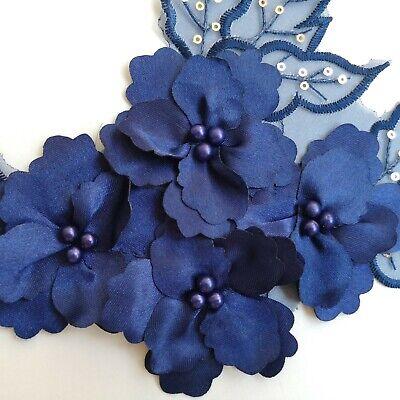 3D Navy Sequined Floral Embroidery Applique Motif Lace Trim EB0394 2