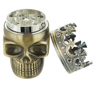 Tobacco Herb Spice Grinder Bronze Punk King Skeleton Skull Smoke Crusher Tool US 3