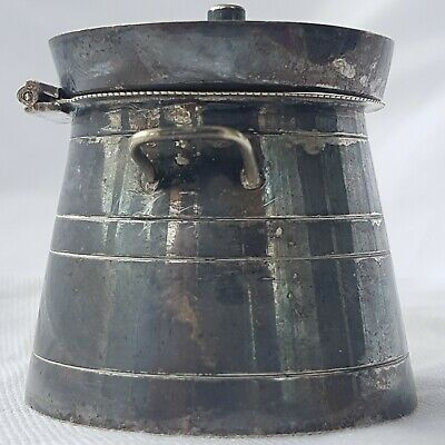 Unusual Silver Plate (E.P.N.S) Milk Churn Form Mustard Pot ~ Curiosity ~ Unique 3