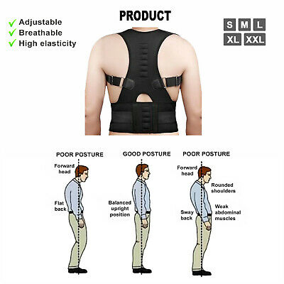 Posture Corrector Clavicle Shoulder Brace Lower Back Support Magnetic Men Women 6