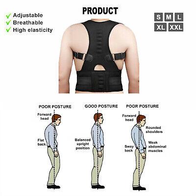 Posture Corrector Support Men Women Magnetic Back Shoulder Brace Belt Adjustable 6