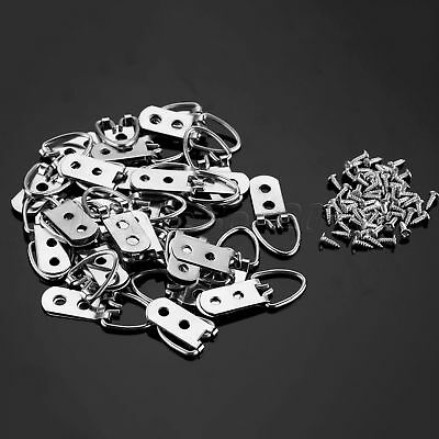 30/60Pcs 53*23mm Heavy Duty D-Ring Picture Hangers Frame Hanging 2 Hole + Screws 6