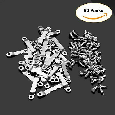 30/60Pcs 42.4*6.4mm Silver Saw Tooth Hanging Picture Frame Hanger Hook + Screws 2